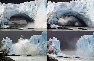巨型冰块从冰川断裂坠入湖中连环图(从上图左起,再下图左起)。(法新社照片)