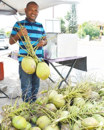 纳里:大小颗的椰子任由顾客选择。