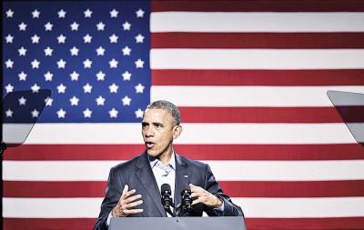 美国总统欧巴马在民主党募款餐会上呼吁候选人勿发表辱骂或挑衅言论。(法新社照片)