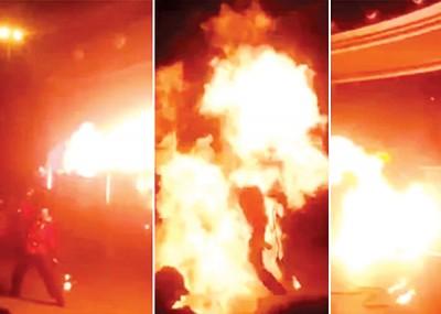 波卢亚诺夫表演火舞娱宾,喷火器突然失灵,波卢亚诺夫顿变火球。