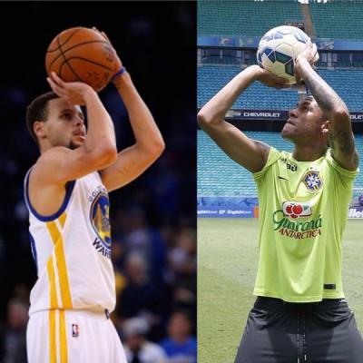 内马尔(右)上传模仿库里投篮照,被网友嘲讽手臂太小了吧。