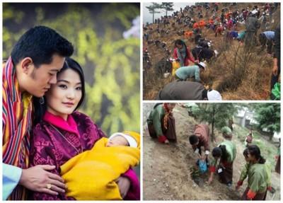 不丹也欢庆国王夫妇诞下小王子(左图),当举国上下种植逾10万株树苗(右上和右下图)。