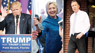 """(左起)特朗普于佛州初选胜出后,当推特贴文说""""谢谢,佛罗里达""""。希拉莉于佛州一家商场作访问,见亲民。卡西奇取得参选以来首集胜仗。(法新社照片)"""