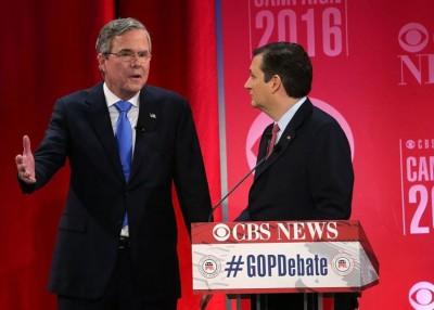杰布布什(左)明支持克鲁兹(右)。