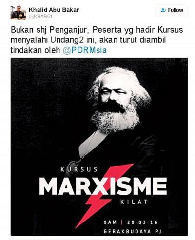 """卡立发推文,指将传召""""闪电马克思主义""""主办方及参加者。"""