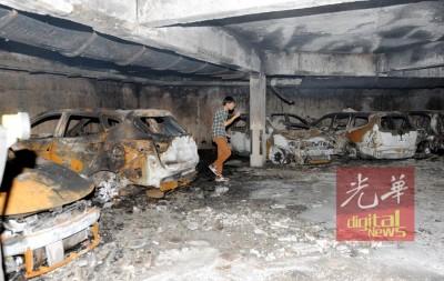 尖端宾馆停车场周日一大早起火患,烧毁33部汽车和1部大型摩托车。