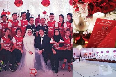 """有些热爱阿仙纳之新娘将婚礼现场的大屏幕上播放的是""""枪手""""的优异瞬间,菜单上为是阿仙纳元素,全大厅都是红色和白色装扮而成为,会上还还有一个微型的足球场。"""