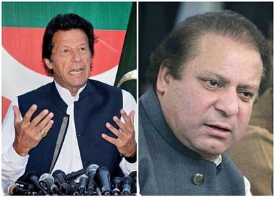 巴基斯坦反对派领袖伊姆兰汗(左)呼吁总理谢里夫(右)辞职。