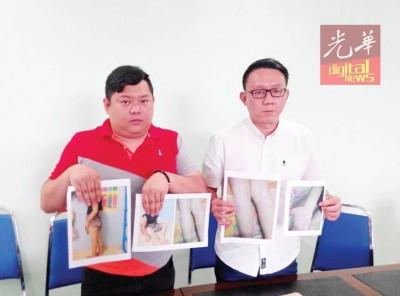 方朝彬(左)在林道祥陪同下召开记者会,申述女儿遭安亲班教师鞭打至手掌、腿部都出现瘀伤。