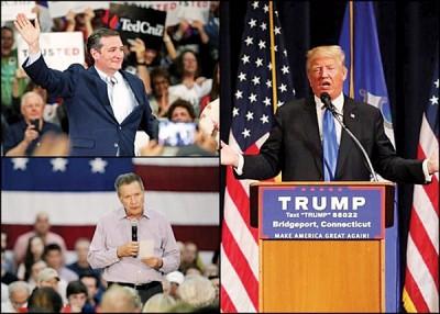 """鲁兹(左图上)与卡西奇(左图下)合作""""配票"""",阻止特朗普(右图)得到提名。"""