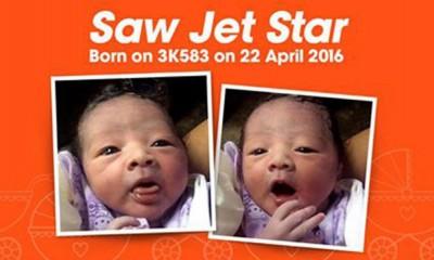 在捷星班机上出生的六磅男婴Saw Jet Star。(取自捷星亚洲航空脸书)
