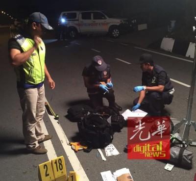 警方鉴证组在现场进行调查工作。