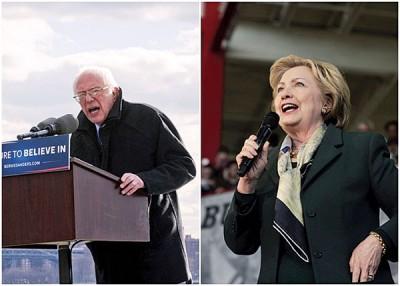 桑德斯(左)跟希拉莉(右)以纽约州不同地点拉票。