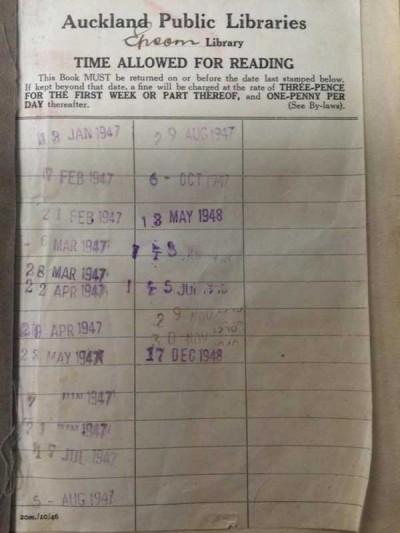 书的内页清晰印有借出日期,最后一次为1948年12月17日。