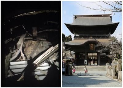 阿苏神社因抵受不住而崩塌(左图),右图为神社原貌。