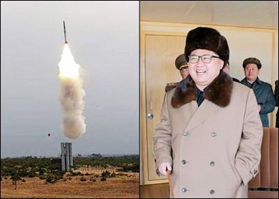 导弹发射成功(左图),金正恩(右图)感到非常满意。