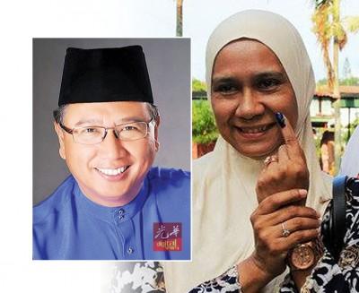 故江沙国会议员拿督凯尔安华之遗孀马丝杜娜律师,当江沙国席补选上阵,也国阵守土。
