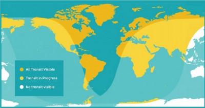 有缘或无缘亲眼目睹水星凌日的国家及地区图。