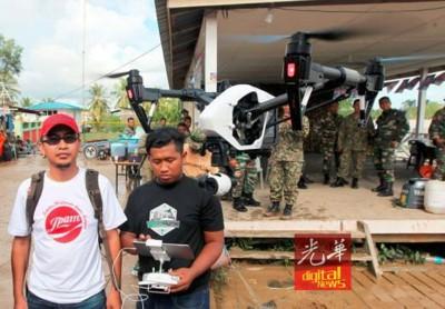 民防部队(JPAM)无人机队伍在砂拉越,操作大型无人机进行搜救。