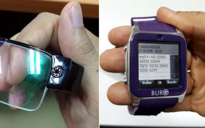 犯罪集团以配备迷你摄录镜头的眼镜(左)及电子表(右)作弊。
