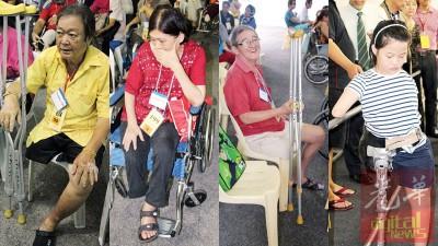 (左起)林振江:后悔道听途说胡乱用药,导致要截肢。刘女士:没想过一个市场普遍售卖的药,会导致脚皮肤坏死。蔡清池:上了年纪就必须多注意自己健康,免患了病也不知。小雪琪装上新的义肢,终于能用双腿走路。