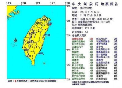 台湾东部外海发生规模5.8地震,宜兰县南澳最大震度6级,全台有震感。