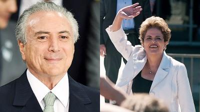 (左)特默宣布新的内阁名单,引起争议。(右)罗塞夫离开总统府时,挥手答谢支持者。(法新社照片)