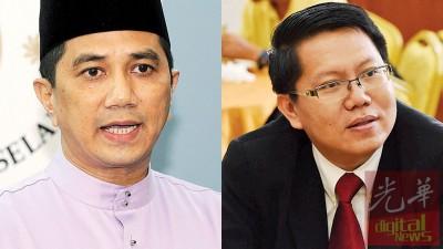 (左)阿兹敏:上回弃权的5名州议员,将在此次支持州政府。(右)阿兹敏指示明确,但王敬文至今仍不肯表态。