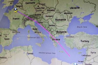 MS804航班飞行路线图。