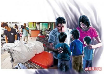 台南周二传出一家五口烧炭惨剧,老二、老么遗体被放在担架移出。