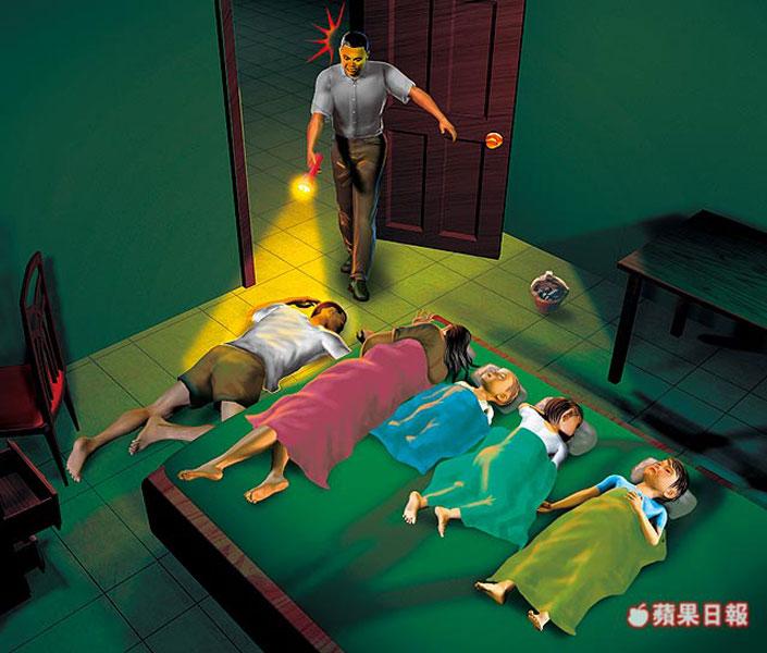 烧炭5死示意图,王俊智欠房租又被断电,房东请管理员察看,赫见王男趴倒在地,报警才发现一家五口都烧炭身亡。