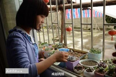 """周琳家种了许多植物, 郁郁葱葱正长得旺盛。""""这些都是她生病期间,在家里自己栽种的。"""""""