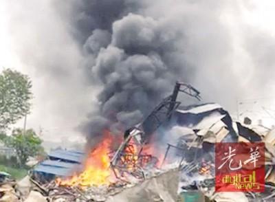 油葱厂1月半前有火患,今日中午还陷入火海。