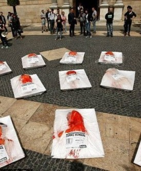 示威者扮成「冰鲜人肉」抗议。(互联网图片)
