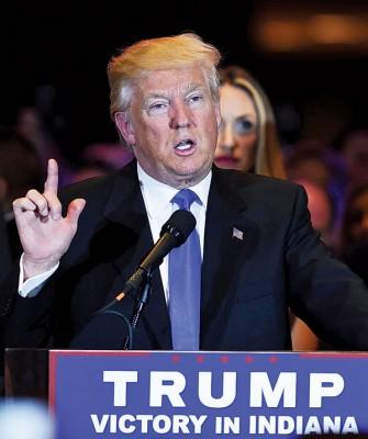 特朗普以印第安纳州开展的提名战胜出,几笃定代表共和党出战美国总统同职。(法新社照片)