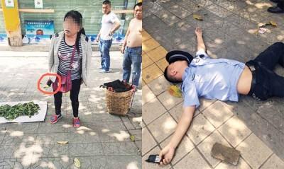 涉事妇人抢走执法记录仪(红圈示)后,随手拾起砖块掷向江姓城管,江某当场晕倒。