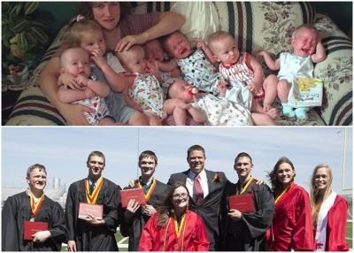 麦考伊诞下的7胞胎(上图),齐齐整整活至高中毕业(下图)。