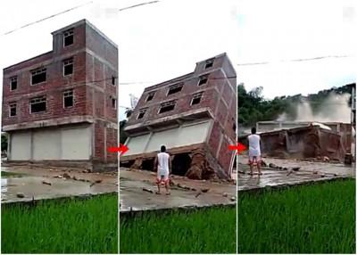 广西一样所3层大的农家住宅,为洪水冲击至倒塌。
