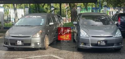同款汽车使用同样车牌,右边汽车是复制车。