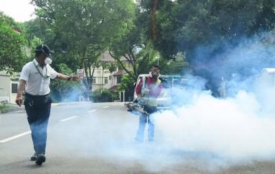 当局出动约30人到武吉知马一带的华登岭私宅区灭蚊。