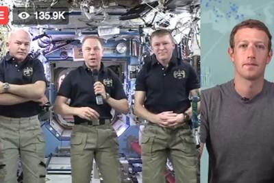 扎克伯格脸书直播与太空人对话。
