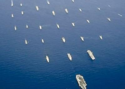 中国将派五舰艇参与今年的环太平洋军演,图为往届环太平洋军演。