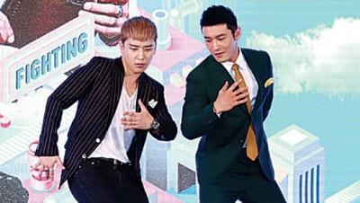 胜利(左)和黄晓明(右)在现场跳《Fantastic Baby》舞蹈,兴致极高。