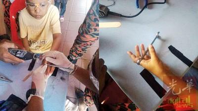 消拯员使用切割工具切断扳手,戴护目镜的男童一脸惊恐。男童食指关节部位肿胀。