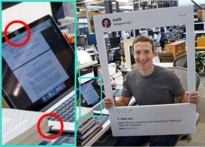 扎克伯格用胶纸封住电脑的镜头及声效插槽。