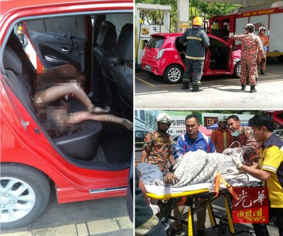 受伤女郎在车内,准备被送院医疗。