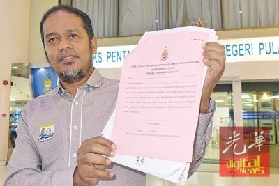 沙希旦于参加首次槟州交通理事会工作坊后,对不合理条款及职责召开记者会。
