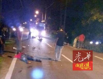 二连撞导致摩托车骑士2死2伤。