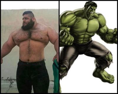 加里比(左图)的身形可媲美绿巨人(右图)。