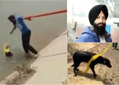 辛格用头巾游绳到运河救回狗狗。